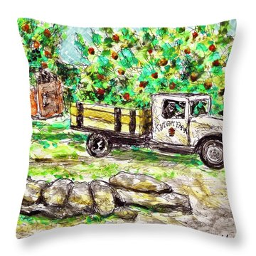 Old Farming Truck Throw Pillow