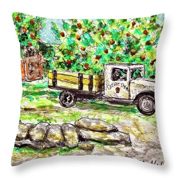 Old Farming Truck Throw Pillow