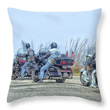 Old Fart Riders Throw Pillow by Constantine Gregory