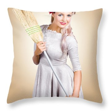 Old Fashion Woman Spring Cleaning With Broom Throw Pillow