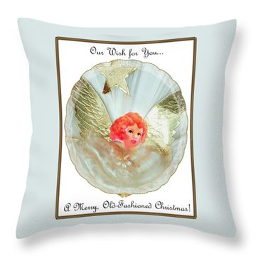 Throw Pillow featuring the digital art Old Fashioned Angel Topper by Ellen Barron O'Reilly