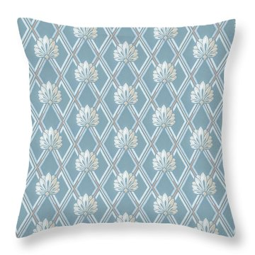 Old Fashioned Blue Lattice Fan Wallpaper Pattern Throw Pillow