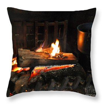 Old Fashioned Fireplace Throw Pillow