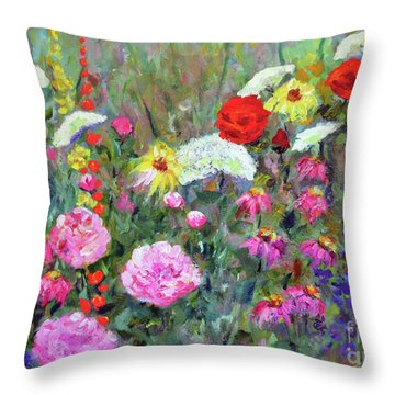 Throw Pillow featuring the painting Old Fashioned Garden by Claire Bull