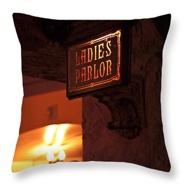 Throw Pillow featuring the photograph Old Fashioned Ladies Parlor Sign by Carolyn Marshall