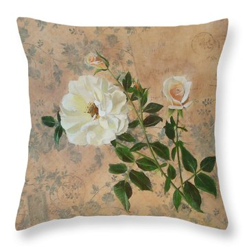 Old Fashioned Rose Throw Pillow by Carrie Jackson