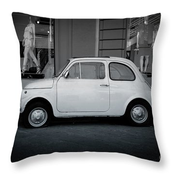 Old Fiat On The Streets Of Florence Throw Pillow by Edward Fielding