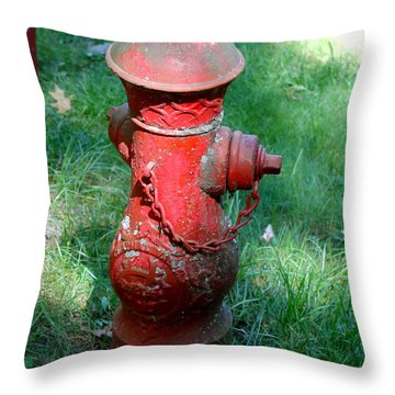 Old Fire Hydrant Throw Pillow by Pamela Walrath