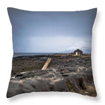 Old Fisherman's Coastal House Throw Pillow