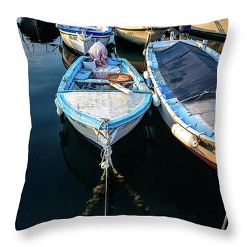 Old Fishing Boats Of The Adriatic Throw Pillow