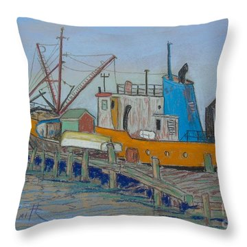 Old Fishing Trawler Throw Pillow