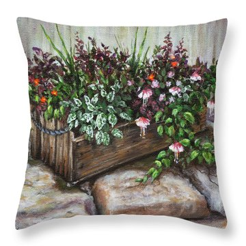 Throw Pillow featuring the painting Old Flower Box by Kim Lockman