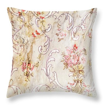 Throw Pillow featuring the photograph Old Flowered Wallpaper by Sue Smith