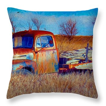 Old Ford F5 Truck Abandoned In Field Throw Pillow