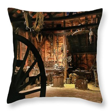Throw Pillow featuring the photograph Old Forge by Tom Cameron