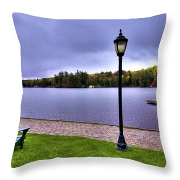 Old Forge Waterfront Throw Pillow by David Patterson