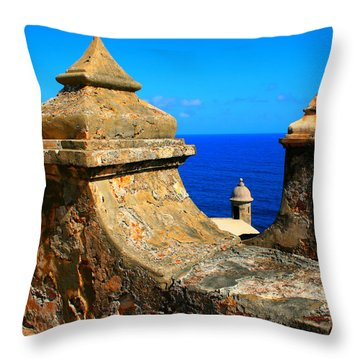 Old Fort Puerto Rico Throw Pillow by Perry Webster