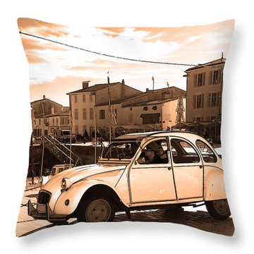 Old French Car Poster Throw Pillow