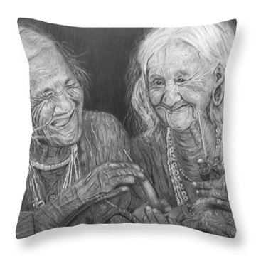 Old Friends, Smokin' And Jokin' Throw Pillow by Quwatha Valentine