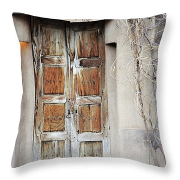 Throw Pillow featuring the photograph Old Gallery Door by Andrea Hazel Ihlefeld
