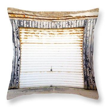 Old Garage Door Throw Pillow
