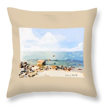 Old Garden Beach  Throw Pillow