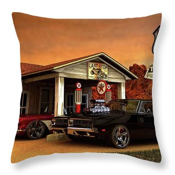 Throw Pillow featuring the photograph Old Gas Station American Muscle by Louis Ferreira