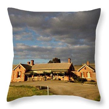 Throw Pillow featuring the photograph Old Ghan Railway Restaurant by Douglas Barnard