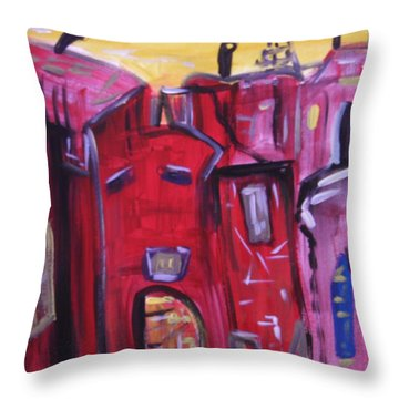 Throw Pillow featuring the painting Old Giant Of Industry by Mary Carol Williams
