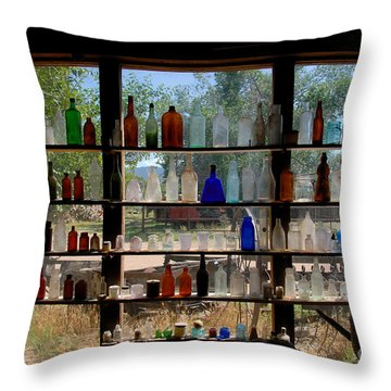 Old Glass Throw Pillow by David Lee Thompson