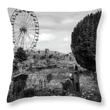 Old Glenarm Cemetery And Big Wheel Bw Throw Pillow by RicardMN Photography