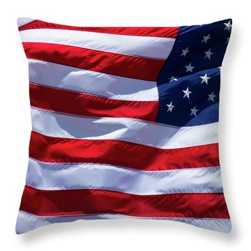 Throw Pillow featuring the photograph Stitches Old Glory American Flag Art by Reid Callaway