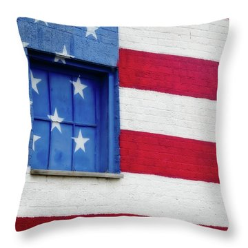 Old Glory, American Flag Mural, Street Art Throw Pillow