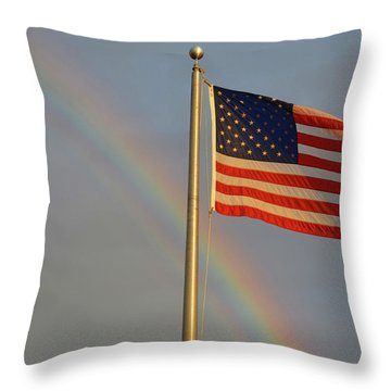 Old Glory And Rainbow Throw Pillow