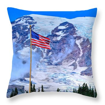 Old Glory At Mt. Rainier Throw Pillow
