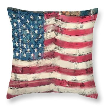 Throw Pillow featuring the painting Old Glory by Carrie Joy Byrnes
