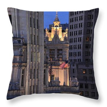 Old Glory Flying High In Chicago Throw Pillow