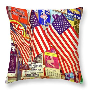 Old Glory Throw Pillow by Joan Reese