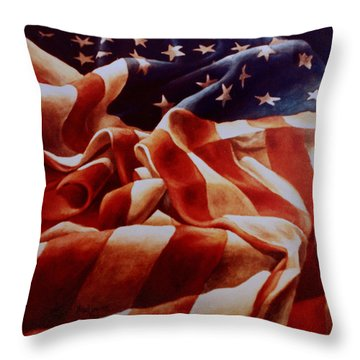 Old Glory Throw Pillow by Michael Lang