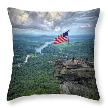 Old Glory On The Rock Throw Pillow
