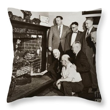 Old Grate That First Burned Anthracite Coal Successfully In The Old Fell House Wilkes Barre Pa Throw Pillow