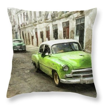 Old Green Car Throw Pillow