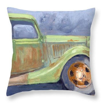 Old Green Ford Throw Pillow