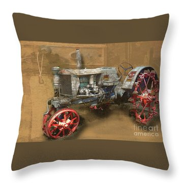 Old Grey Tractor Throw Pillow