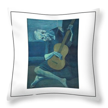 Old Guitarist Throw Pillow