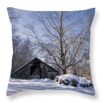 Old Hay Barn Boxley Valley Throw Pillow