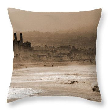 Old Hermosa Beach Throw Pillow by Ed Clark