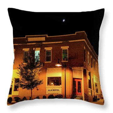 Old Hotel Moonlight Throw Pillow by Dale R Carlson