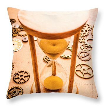 Old Hourglass Near Clock Gears On Old Map Throw Pillow
