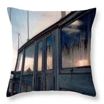 Old House Boat Throw Pillow